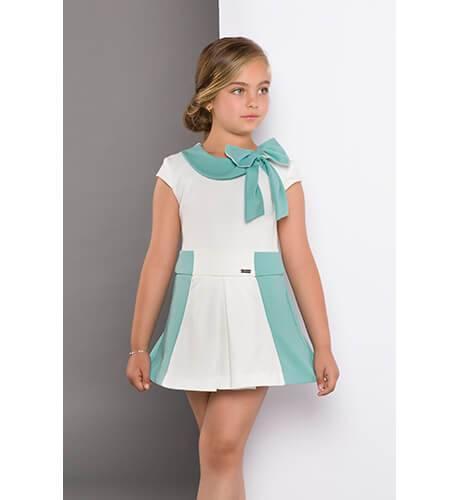Vestido punto blanco combinado verde de Nekenia | Aiana Larocca