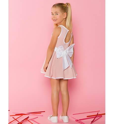 Vestido punto rosa lazo blanco y escote de Nekenia | Aiana Larocca
