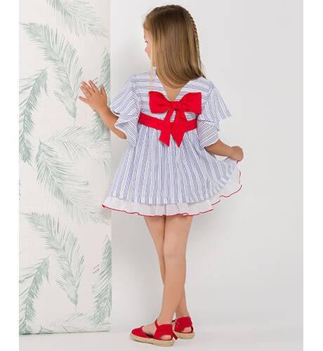 Vestido niña a rayas azul lazo rojo de Nekenia | Aiana Larocca