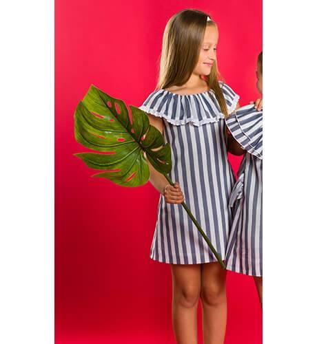 Vestido niña evasé a rayas anchas de Nekenia | Aiana Larocca