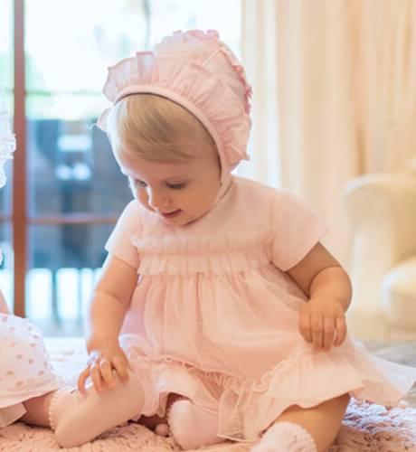 Jesusito bebe manga corta rosa con tul de Dolce Petit | Aiana Larocca