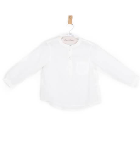 Camisa niño lino crudo cuello mao | Aiana Larocca