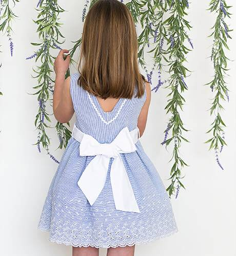 Vestido a rayas finas azul de Blanca Valiente | Aiana Larocca