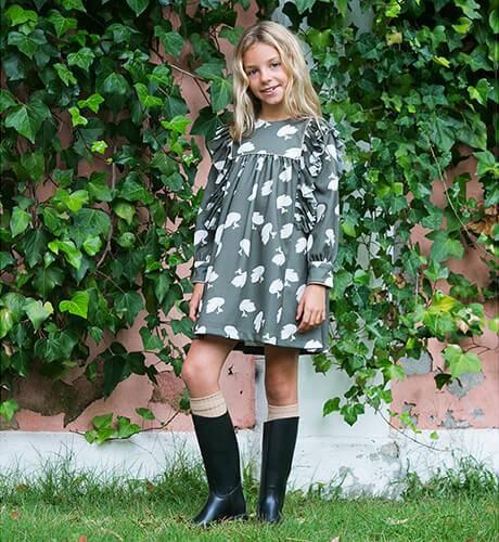 Vestido niña estampado cisne de Mon Petit Bonbon | Aiana Larocca