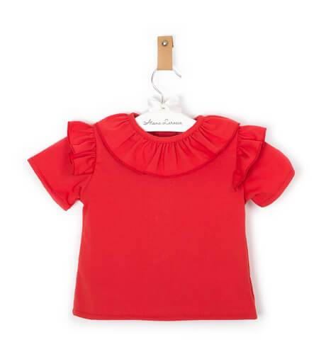 Blusa roja punto camiseta cuello volante de Baby Yiro | Aiana Larocca