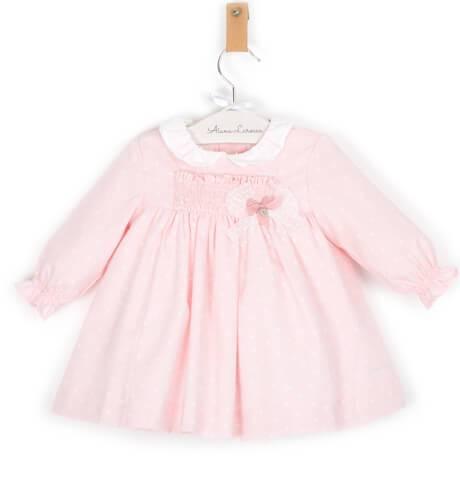 Vestido bebe rosa estrellitas cuello blanco | Aiana Larocca