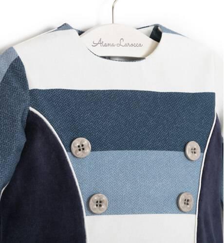 Vestido combinado a rayas azul de Nekenia   Aiana Larocca