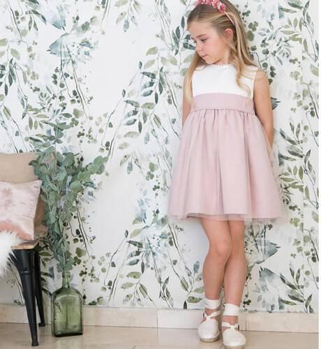 Ceremonia Con Rosa Moda Infantil Larocca Tul Aiana Niña Vestido Azwtq5RO