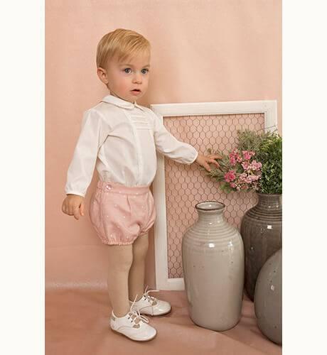 Conjunto bebe bombacho rosa y camisa de Dolce Petit | Aiana Larocca