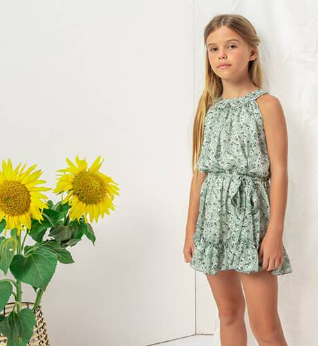 Vestido escotado estampado verde de Nekenia | Aiana Larocca