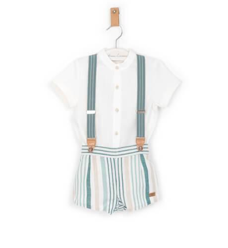 Conjunto pantalón tirantes a rayas y camisa blanca de Marta y Paula | Aiana Larocca