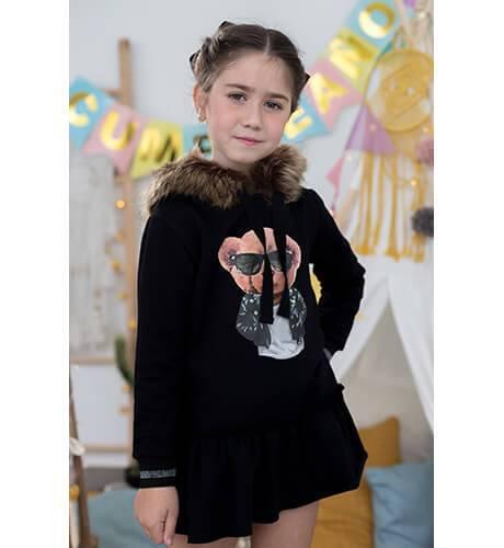 Vestido niña felpa oso capucha pelo de Mon Petit Bonbon | Aiana Larocca