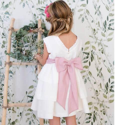Vestido niña ceremonia lino volantes lazada rosa | Aiana Larocca