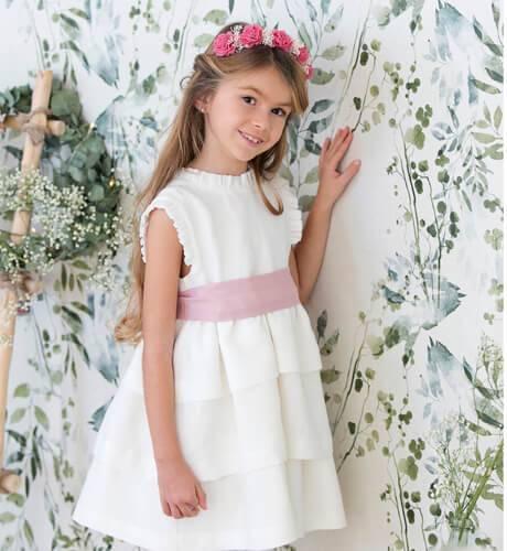 -NUEVO- Vestido niña ceremonia lino volantes lazada rosa | Aiana Larocca