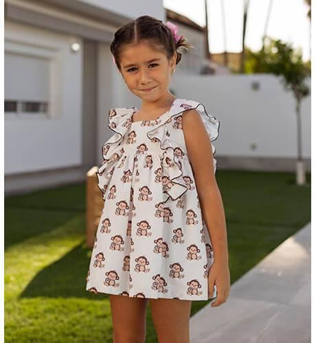 Vestido niña estampado monitos de Mon Petit Bonbon | Aiana Larocca