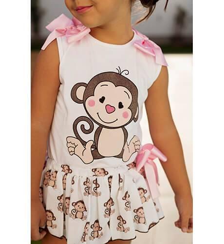 Conjunto bebe niña camiseta y braguita monitos de Mon Petit Bonbon | Aiana Larocca