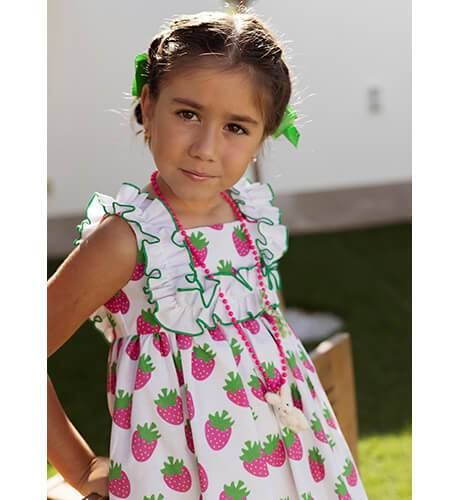 Vestido niña estampado fresas de Mon Petit Bonbon | Aiana Larocca