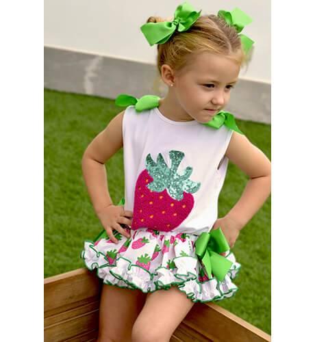 Conjunto camiseta y braguita fresas de Mon Petit Bonbon | Aiana Larocca