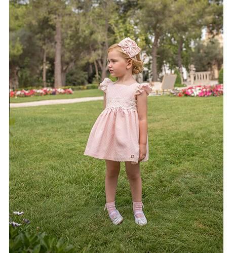 Vestido ceremonia niña plumeti volantitos hombro de Dolce Petit   Aiana Larocca
