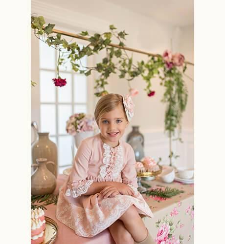 Vestido niña rosa con tul bordado de Dolce Petit | Aiana Larocca