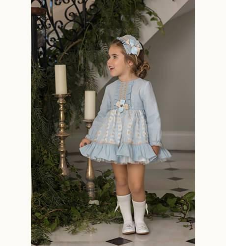 Vestido azul falda vuelo con volante de Dolce Petit | Aiana Larocca