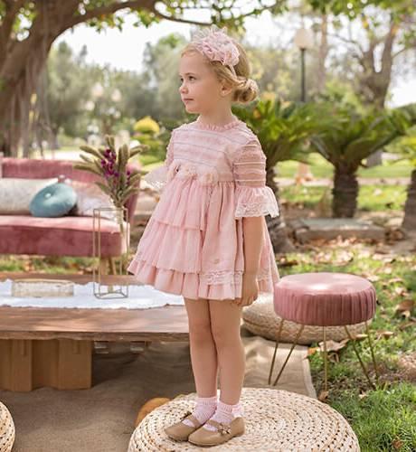 Vestido ceremonia rosa manga francesa con tul de Dolce Petit   Aiana Larocca