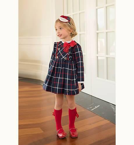Vestido talle alto a cuadros marino y rojo con lazo de Dolce Petit | Aiana Larocca
