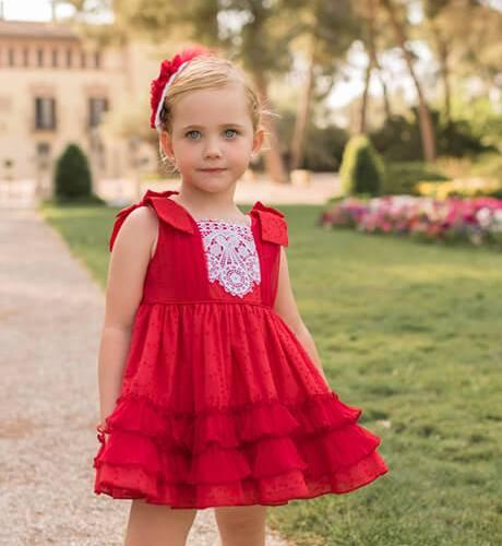 Vestido niña plumeti rojo lazos hombros de Dolce Petit | Aiana Larocca