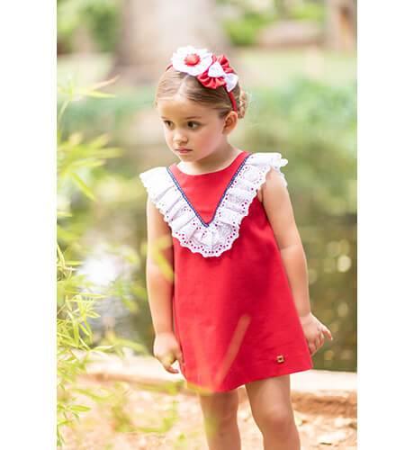 Vestido rojo escote espalda y lazo de Dolce Petit | Aiana Larocca