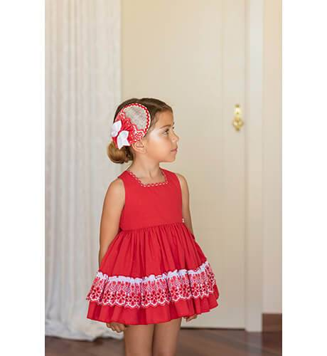 Vestido plumeti rojo escote espalda de Dolce Petit | Aiana Larocca
