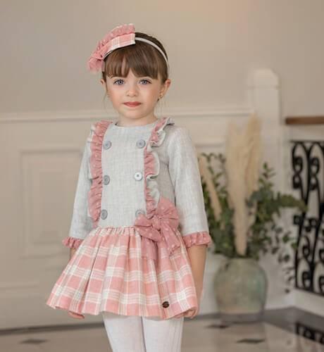 Vestido niña cuerpo gris y falda a cuadros rosa de Dolce Petit | Aiana Larocca