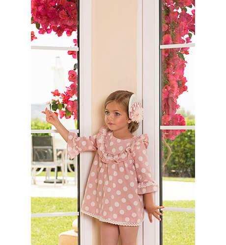 Vestido rosa lunares manga francesa de Dolce Petit | Aiana Larocca