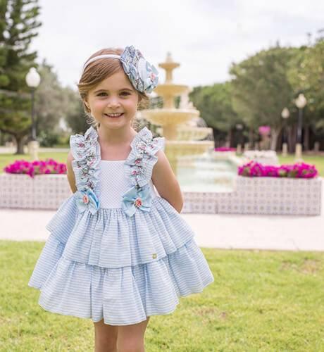 Vestido niña a rayas azul con piqué blanco de Dolce Petit   Aiana Larocca