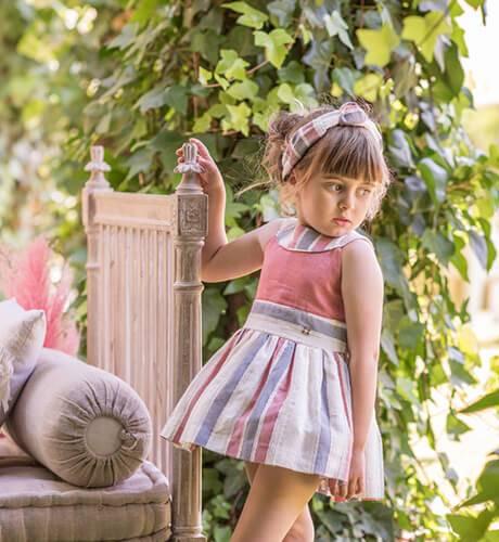 Vestido niña a rayas corte cintura espalda abierta de Dolce Petit | Aiana Larocca