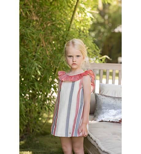 Vestido niña a rayas volante rojo escote espalda y lazo de Dolce Petit | Aiana Larocca