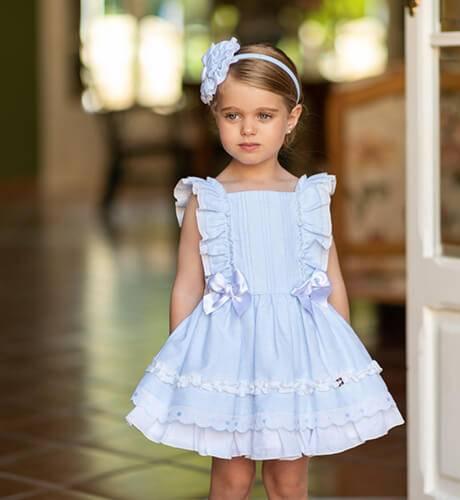 Vestido azul volantes detalle lazos de Dolce Petit | Aiana Larocca