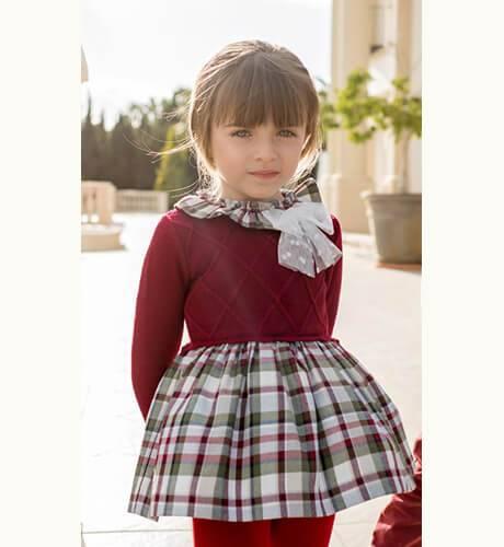 Vestido niña a cuadros combinado punto granate de Dolce Petit | Aiana Larocca