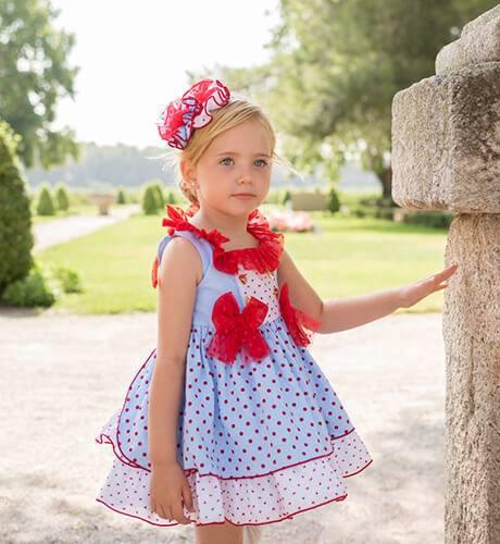 Vestido niña azul con topitos cuello volante en tul rojo de Dolce Petit | Aiana Larocca