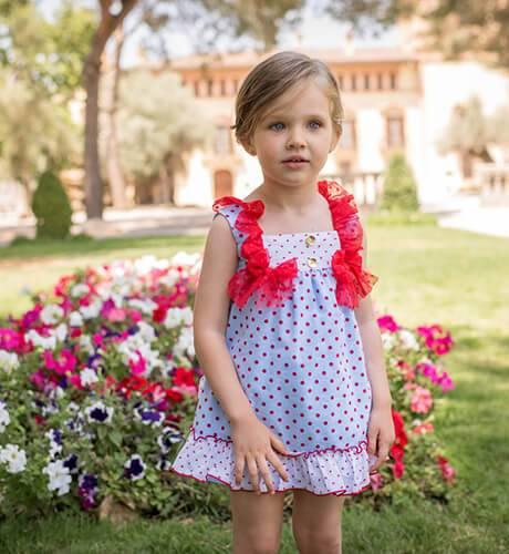 Vestido niña azul topitos volantes tul rojo en hombros de Dolce Petit | Aiana Larocca