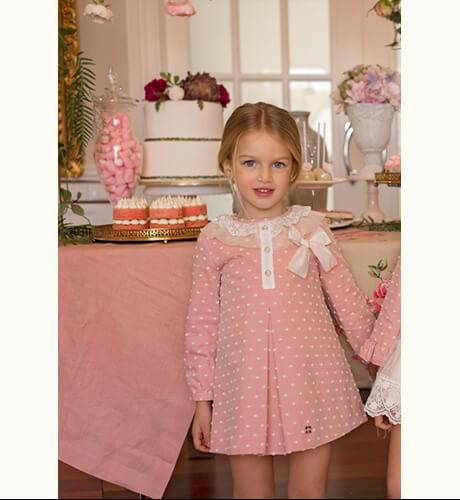 Vestido corte trapecio viella plumeti rosa de Dolce Petit | Aiana Larocca