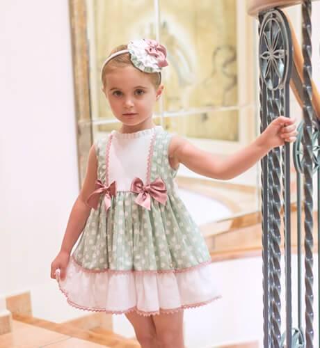 Vestido niña verde topitos blanco con lazos de Dolce Petit | Aiana Larocca