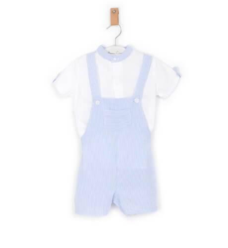 Conjunto niño Peto a rayas finas azul y camisa blanca de Coco Acqua | Aiana Larocca