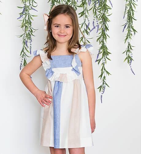Vestido niña a rayas cuello volante de Ancar | Aiana Larocca
