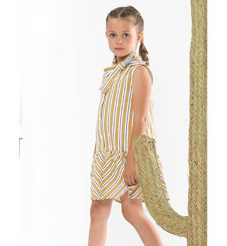 Vestido niña a rayas marino y mostaza de Coco Acqua | Aiana Larocca