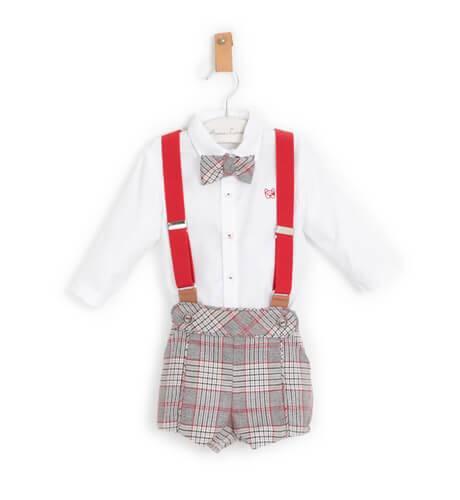 Conjunto niño pantalón tirantes a cuadros marionetas de Marta y Paula | Aiana Larocca