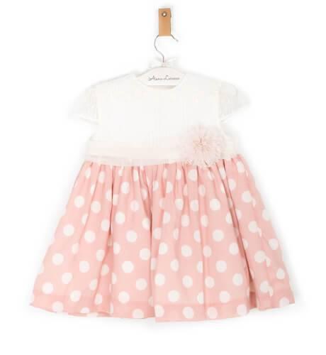 Vestido cuerpo tul bordado y falda rosa lunares de Dolce Petit | Aiana Larocca