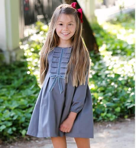 Vestido niña gris detalle chorreras y lazo de Eve Children | Aiana Larocca
