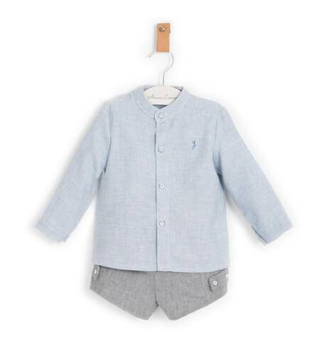 Conjunto niño camisa y pantalón gris de Yoedu | Aiana Larocca