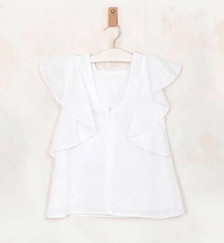 Vestido plumeti blanco volantes hombro de Marta y Paula | Aiana Larocca