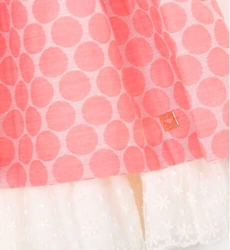 Vestido coral topos cuello y espalda encaje de Dolce Petit | Aiana Larocca